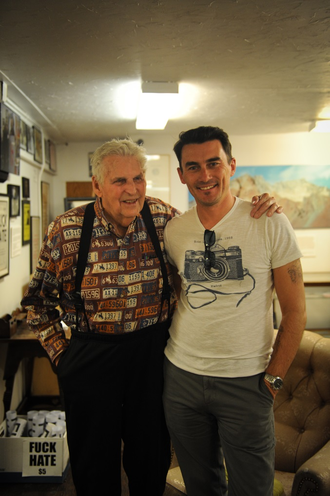Al Hinkle and director Nic Saunders at The Beat Museum, North Beach, San Francisco